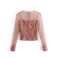 Wholesale gauze shirts - Hot 2018 Spring New Arrival Women O Neck Lace Up Top Women's All-match Thin Gauze Stitching Lace Transparent Shirt Free Shipping