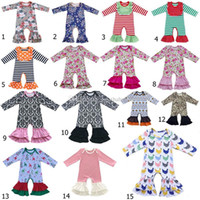 Wholesale Boys Plaid Pajamas - 2018 new floral Ruffle romper baby boy girl Jumpsuits Cotton children ruffled Pajamas kids Climb clothes 37 styles C3378
