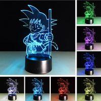 mesas de garoto altas venda por atacado-Atacado de alta qualidade Dragon Ball Super Saiyajin God Goku Wukong figuras de ação 3D candeeiro de mesa RGB cor mudando a noite de dormir luz para menino