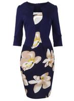 nylon dame heißes kleid großhandel-Heißer Verkauf AUF LAGER Blumenblatt Vestidos 2018 Frauen-Sommer-Kleid-Bleistiftkleid Bodycon-Bürodamen kleidet Verbandarbeit elegantes S-4XL FS0671