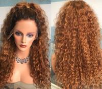 işlenmemiş hazır saç satışı toptan satış-Satışa moda ucuz indirim 100% işlenmemiş remy virgin İnsan saç uzun ombre renk kadınlar için afro kıvırcık tam dantel kap peruk