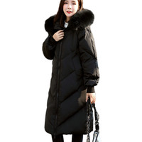 Wholesale Womens Real White Fur Coat - Real Raccoon Fur collar Removable White Duck Down Jackets Plus size Loose Long Coat Womens Winter Hooded Parkas 140cm Big Bust