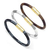 застежка браслета из золотого браслета оптовых-2018 последняя мода пара кожаный браслет браслеты с золотой магнитной застежкой ручной подвески ювелирные изделия 21 см длиной 9 г