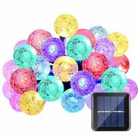 Wholesale moon globe - Hot Led Strip 30 LED Crystal Ball Light String Solar Power Lamp Globe Fairy Light for Garden Party Home Christmas Decoration