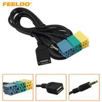 cabo usb kia venda por atacado-FEELDO Car 2 in1 3.5 MM + USB Plug Cabo de Áudio Adaptador Kia Cabo Aux Player de CD para MP3 Para Hyundai Kia Sportage # 3072