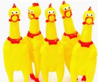 Wholesale shrilling screaming rubber chicken toy resale online - pet dog puppy Screaming Shrilling Yellow Chicken Pet Dog toy Kids Sound Toy Non toxi cat Rubber Chewing chick Toys