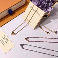 Wholesale 2018 New arrival Stainless Steel Chain V word style for women necklace Fashion Trendy Paired Suspension Pendants Model jewelry gift PS6121