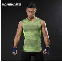erkekler sıkı egzersiz giysileri toptan satış-NANSHA Marka Nefes Hızlı Kuru erkek Spor Yelek Giyim Sıkıştırma Tankı Üstleri Egzersiz Sıkı Giysiler Sportwear
