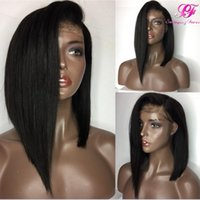 Wholesale Silky Straight Lace Wigs - 9A Pre Plucked Short Human Hair Wigs For Black Women Straight Lace Front Bob Wigs With Baby Hair Brazilian Virgin Full Lace Wig