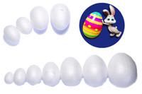 yumurta ürünleri toptan satış-Paskalya / Düğün Dekoratif Aksesuarları İçin Yeni Design120pcs 7 cm / 2 .75inch Köpük Yumurta Shape Topu Kullanılmış Beyaz Strafor Yapımı Ürün