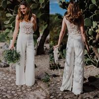 vestido de novia ver a través al por mayor-Dos piezas de traje bohemio pantalón de la madre de la novia Vestidos de novia Perlas de abalorios Vestidos de boda de playa estilo country a medida