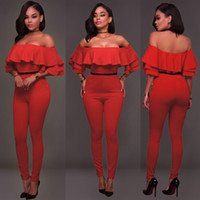 Wholesale Spot Tights - Plus Size Rompers Spot tight Red jumpsuits Body Mujer Off Shoulder Bodysuits Kombinezony For Monos Largos Tute Eleganti Donna
