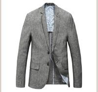 uzun keten elbise xxl toptan satış-Yeni Varış bahar Erkek Takım Elbise Blazer Elbise Yüksek Qualtiy Moda uzun kollu keten iki düğme yarım linin Boyut M L XL XXL XXXL