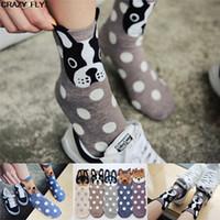 calcetines voladores al por mayor-CRAZY FLY 2018 Sincronización de Corea - Race Dog Mujeres adultas Calcetines Dibujos animados Otoño y en los calcetines de invierno Nuevos regalos de Navidad