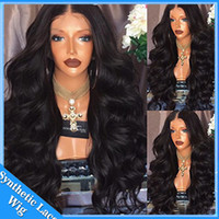 Wholesale long black curly cosplay wig - Long Wavy Wig Synthetic Natural Curly Lace Front Wigs Black Color Loose Body Wave Wigs Heat Resistant Fiber for Women Cosplay wig
