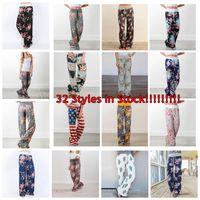 женщины широкие ножки йоги брюки оптовых-Женщины цветочные йога палаццо Брюки 38 стили лето широкие брюки свободные спортивные шаровары Boho длинные брюки бег одежда 6 шт. OOA5197