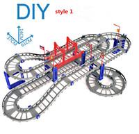 ingrosso track puzzle-Building Blocks Mattoni 88pcs Veicolo elettrico su rotaia con binario leggero Treno da pista Giocattolo educativo Puzzle Giocattolo per bambini