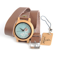 Wholesale Long Leather Watch Straps Women - BOBO BIRD M22 M23 M24 Women Wooden Watches Three Kinds New Top Brand Luxury Horloges Vrouwen with Long Leather Strap as Birthday Gift