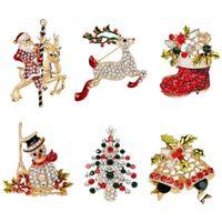 brosche dekorationen großhandel-Weihnachtsbroschen 6 STÜCKE Kristall Festival Weihnachten Brosche für Party Dekoration Geschenk