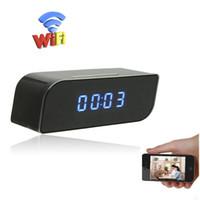 ingrosso sveglia della macchina fotografica attivata-1080P WiFi Network Camera Alarm Clock Mini telecamera HD Nanny Cam Motion attivato Night Vision DVR Wireless Baby Camera Monitor di sicurezza