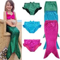 Wholesale blue tail cosplay - Kids Girl Swimmable Mermaid Tail Sea-maid Bikini Swimwear Character Princess Dream Swimming Fancy Costume Cosplay Clothes