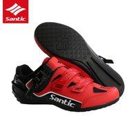 borracha de estrada de bicicleta venda por atacado-Santic 3 Cores Sapatos de Ciclismo Homens Pro Team Mountain Road Bike Shoes Borracha Respirável Desbloqueado Zapatillas Ciclismo Bicicleta