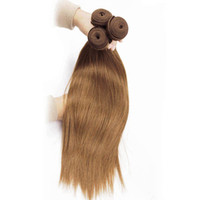 Wholesale auburn remy virgin hair for sale - Group buy Color Medium Brown Auburn Blonde Hair Bundles Brazilian Straight Human Hair Weave Brazilian Virgin Hair Straight Extensions
