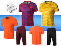 Wholesale woolen sweaters - New style Barca jersey 2018 2019 soccer Training shirts Sportswear printed woolen sweater Men's short-sleeved training shirt Leisure sweatsh