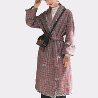 Wholesale white woolen hats for sale - Group buy Vintage Woolen Trench Coat Plaid Tassel Autumn Winter Turn down Collar Long Style Overcoat With Belt Long Casaco Feminino