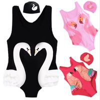 Wholesale Children Girls Swimwear INS Cartoon Printed Summer One Piece Swimming Suit Flamingos Swan Parrot D Printed Summer Swimsuits S XL