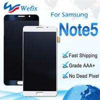 not digitizer bölümü toptan satış-Samsung Galaxy Not 5 için yüksek Kalite Orijinal LCD Ekran Ekran N9200 N920G Dokunmatik Ekran Digitizer Meclisi Yedek Parçalar Ücretsiz Gemi