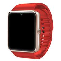 ingrosso guarda iphone sync-Gt08 Bluetooth Smart Watch per Apple iphone IOS Android Phone Supporto da polso Supporto sincronizzazione orologio intelligente Sim Card Disponibile