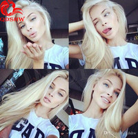 Wholesale white blonde full lace wig online - Platinum Blonde Human Hair Wigs With Baby Hair Straight Brazilian Virgin Blonde Lace Front Wigs For White Women Bleached Knots