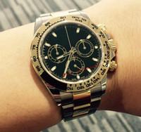 смотреть мужчин оптовых-Горячая продажа качество роскошный черный циферблат 40 мм нет Cosmograph 116503 двухцветный золото из нержавеющей стали механические автоматические мужские часы бесплатная подарочная коробка
