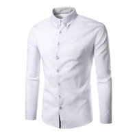 корейское платье с длинным рукавом оптовых-2018 New Fashion  Camisa Masculina Long Sleeve Shirt Men Korean Slim Design Formal Casual Male Dress Shirt Size M-2XL
