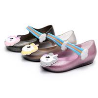 bebek kız jöle ayakkabıları toptan satış-2018 Çocuklar için mini sed jöle sandalet bebek unicorn çocuk kız prenses ayakkabı sevimli karikatür şeffaf bling yumuşak plaj ayakkabı 010166