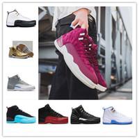 siyah beyaz yün toptan satış-Sıcak Satış 2018! Kadın Erkek XII 12 Basketbol Ayakkabı Ucuz Yüksek kalite 12 s Yün Bordo Kanatları Fransız Siyah Beyaz PSNY Sneakers BOYUTU 36-46