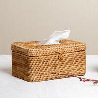 caja de decoración china al por mayor-Chino vietnamita ratán mesa de café decoración creativa hogar sala de estar vajilla bandeja caja de papel caja de pañuelos LO922810