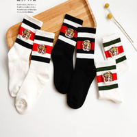 Wholesale Striped Terry Socks - Tiger Embroideried Socks Tide Brand Breathable Sports Socks Striped Casual Socks For Men Women Outdoor Athletic Stockings