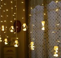 Wholesale red heart lanterns - LED string lights flashing light ice curtains background lightsring heart wish ball Christmas decoration romantic proposal small lantern