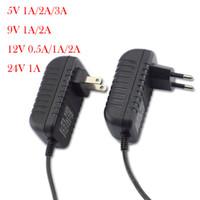 ingrosso adattatore alimentazione 5v 3a-Alimentatore CA-CC Adattatore per caricabatterie Adattatore per caricabatterie 5V 12V 9V 1A 2A 3A 0.5A US Spina UE 5.5mm x 2.5mm 100-240V Per CCTV LED Strip Light