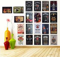 şarap tenekesi tabelası toptan satış-Retro Vintage Şarap Bira Viski Markalar Kalay Işaretleri Duvar Sanatı Boyama Jack Daniels Metal Poster Ev Pub Bar Dekorasyon