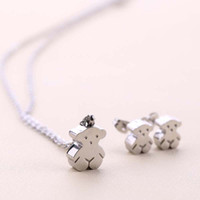Wholesale Cute Gold Pendant - Popular Stainless Steel Cute Animal Charms bears pendants Jewelry Necklace and earring set gift jewelry for women Colar de Urso 2 colors