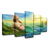 Wholesale modern girls abstract paint resale online - Mermaid Girl Pieces Home Decor HD Printed Modern Art Painting on Canvas Unframed Framed