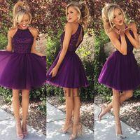 mezuniyet elbiseleri mor kısa toptan satış-Bir Çizgi Mor Mezuniyet Elbiseleri Kısa Tül Boncuk Pileli Zarif Kızlar Gelinlik Mezuniyet Partisi için Elbiseler 2018 Yeni Tasarım