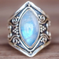 Wholesale turquoise stone wedding ring - 4Colors Antique Opal Moonstone Gems Ring Women Engagement Rings Luxury Jewelry Mens Wedding Rings Stainless Steel Jewelry Fashion Bague