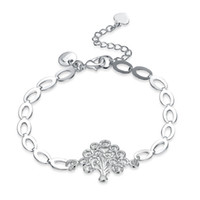 chain set men silver 925 NZ - Brand new!Women's hand chain Life Tree Psterling silver plated bracelet SPB574;high quatity fashion men and women 925 silver Charm Bracelets