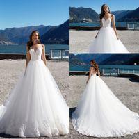 Wholesale designers' wedding dresses resale online - 2019 New Spaghetti Straps Lace Applique A Line Wedding Dresses Backless Court Train Custom Made Designer Plus Size Bridal Gowns