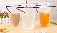 Wholesale gusset bags wholesale - 17oz Clear Drink Pouches Bags handheld frosted Zipper Stand-up Drinking Bag Bottom Gusset with Plastic Straws