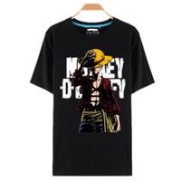 anime japonés camisetas al por mayor-Camisetas de una pieza Sombrero de paja Luffy Anime japonés Camisetas O -Neck Black T - Camisa para hombres Diseño de una pieza camiseta de Anime Camisetas